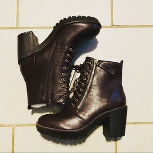 Rue21 Shoes - Rue21 Brown Side Zip Lug Heeled Hiker Boots